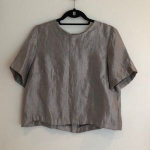 HM metallic silver top